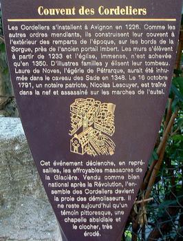 Avignon - Couvent des Cordeliers, rue des Lices et rue des Teinturiers - Panneau d'information