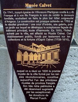 Avignon - Musée Calvet (Hôtel de Villeneuve-Martignan), 65 rue Joseph-Vernet - Panneau d'information