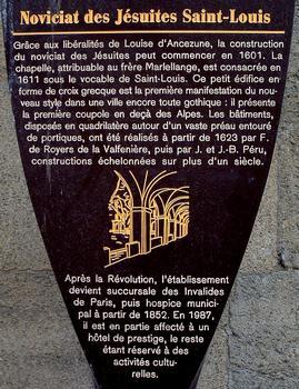 Avignon - Noviciat des Jésuites Saint-Louis - Panneau d'information
