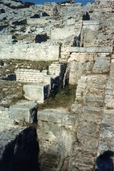 Ruins of a row of Roman mills at the end of the 4th century Barbegal Aqueduct