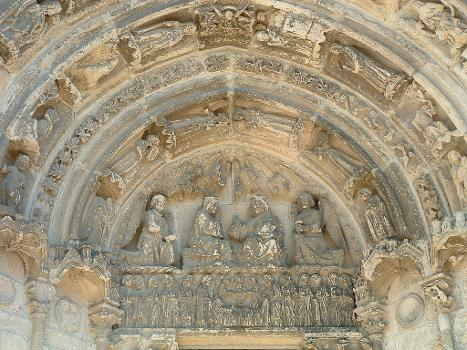 Bazas - Cathédrale - Portail de droite du couronnement de la Vierge