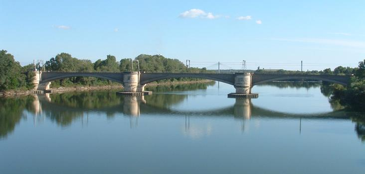 Vaiduc de Tarascon - Ensemble vu de l'amont côté Beaucaire - A l'arrière-plan, le pont à haubans de Tarascon-Beaucaire