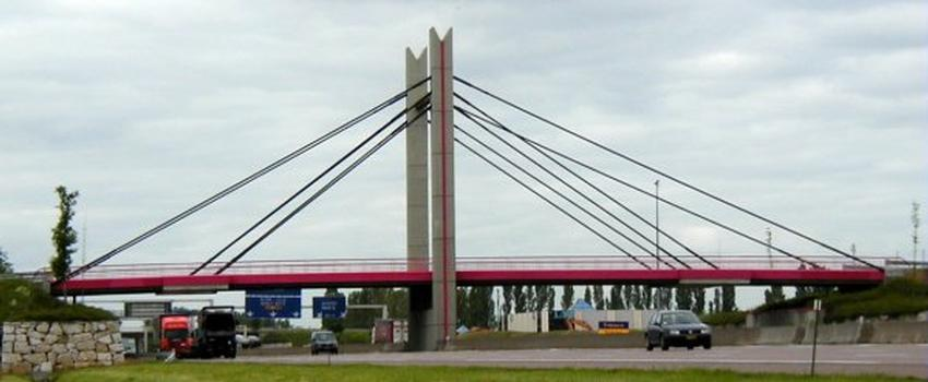 Cable-stayed overpass over the A6 at Beaune