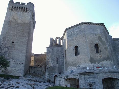 Arles - Abbaye de Montmajour - Chevet de l'abbatiale Notre-Dame et tour Pons de l'Orme