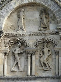 Angoulême - Cathédrale Saint-Pierre : Façade occidentale : partie latérale droite médiane Démons et damnés