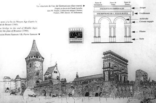 Arc de Germanicus et pont médiéval - panneau d'information