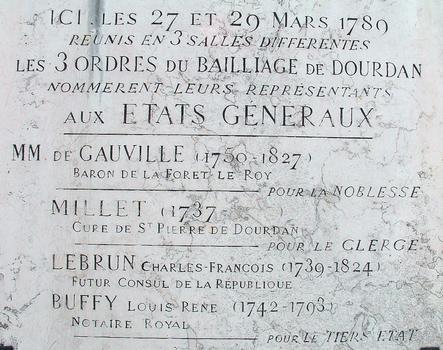 Dourdan - Château - Plaque commémorative