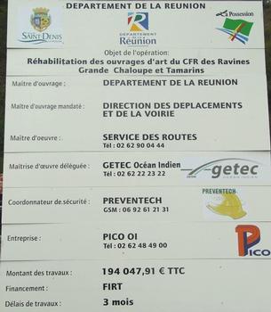 Chemin de fer Réunionnais - Pont de la ravine Tamarins - Panneau d'information