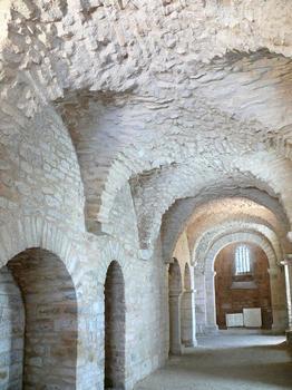 Flavigny-sur-Ozerain - Ancienne abbaye Saint-Pierre - Vestiges de l'ancienne abbatiale - Couloir menant à la crypte carolingienne Sainte-Reine
