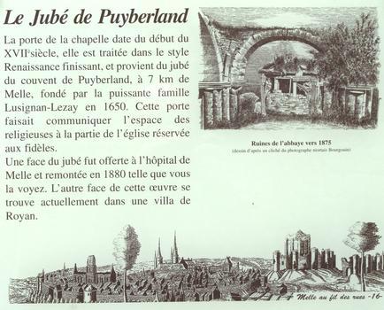 Hôpital de Melle - L'ancien jubé du couvent de Puyberland - Panneau d'information