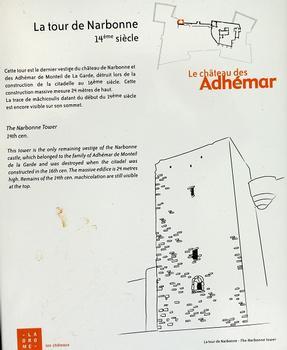 Montélimar - Château des Adhémar - Tour de Narbonne (14ème siècle) - Panneau d'information : Montélimar - Château des Adhémar - Tour de Narbonne (14 ème siècle) - Panneau d'information