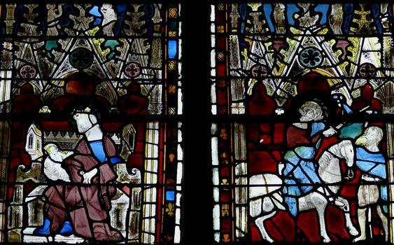 Evreux - Cathédrale Notre-Dame - Nef: vitrail représentant la Vierge à l'Enfant et partage du manteau par saint Martin