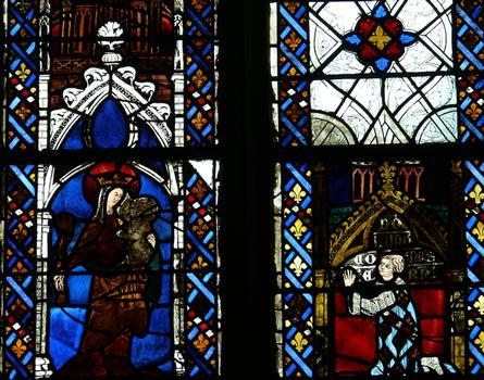 Evreux - Cathédrale Notre-Dame - Nef: vitrail représentant la Vierge à l'Enfant et donateur (comte d'Evreux)