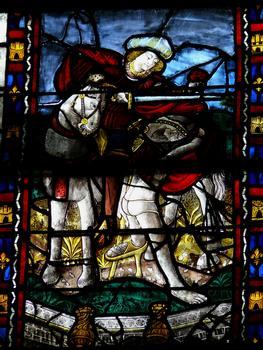 Evreux - Cathédrale Notre-Dame - Nef: vitrail représentant le partage du manteau par saint Martin