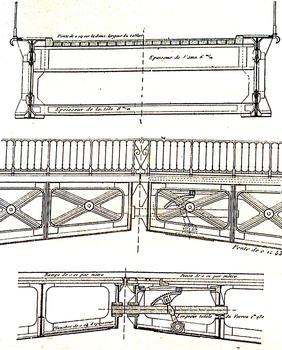 Brest - Pont National - Dessin dans le livre de Chaix sur les ponts - Coupe transversale et clé