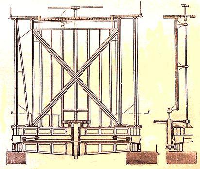 Brest - Pont National - Dessin dans le livre de Chaix sur les ponts - Coupe transversale sur pile