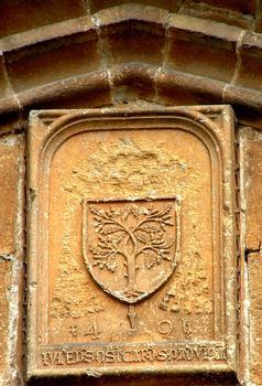 Gigny-sur-Suran - Abbariale - Blason des della Rovere au tympan du portail
