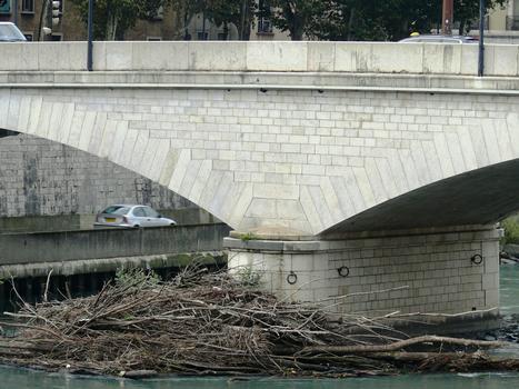 Grenoble - Pont de la Citadelle. Embâcle d'arbres contre une pile
