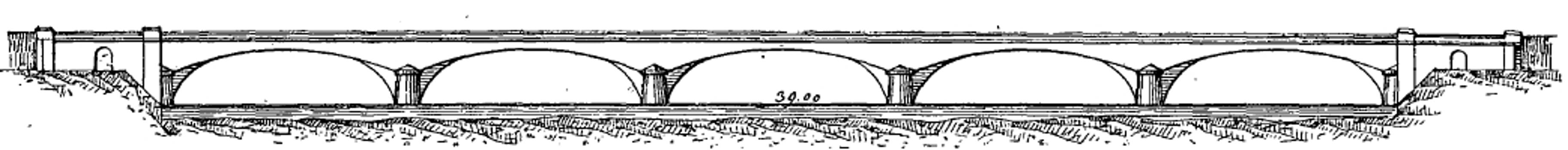 Pont de Neuilly - Dessin de Chaix dans son livre sur les ponts - Coupe longitudinale