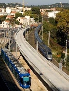 Montpellier - Viaduc Alphonse Loubat - Ensemble du viaduc entre la voie de tramway longeant le Corum et la ligne de chemin de fer