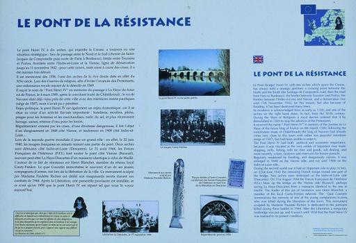 Descartes - Pont Henri IV côté aval - Panneau d'information