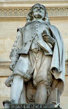 Statue of Jacques Lemercier, part of the façade of the Louvre