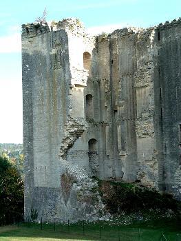 Château de La Ferté-Milon : Tour carrée avec contreforts diagonaux et cheminée