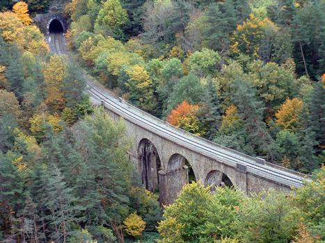 Au sud de Monistrol-d'Allier: viaduc de Fontannes et tunnel de Fontannes
