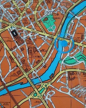 Limoges - Plan de la ville avec ses ponts sur la Vienne