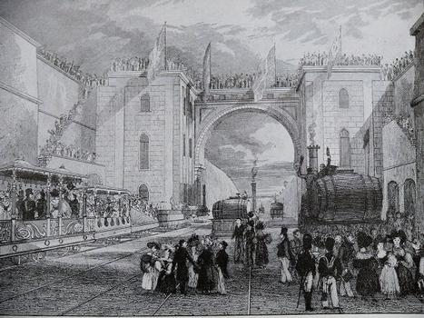 Liverpool & Manchester Railway - engraving by I. Shaw showing the inauguration of the railroad line. The official convoy is stopped in fron of the Moorish Arch in Liverpool Station