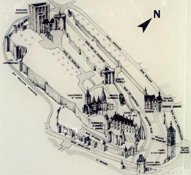 Plan de la cité royale médiévale et de la vielle ville, Loches