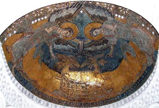 Germigny-des-Près - Oratoire carolingien - La mosaïque (arche d'Alliance et anges)