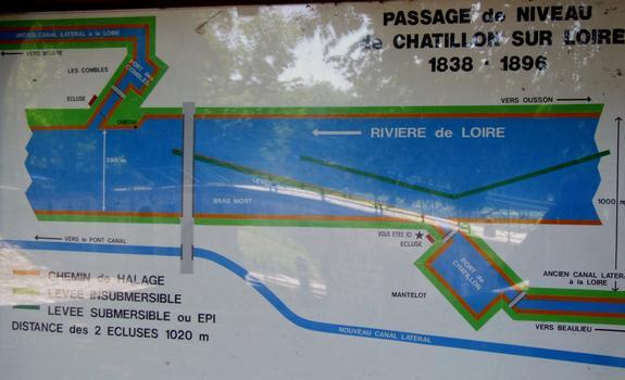 Loire-Seitenkanal - Schleusen Mantelot and Combles - Informationstafel