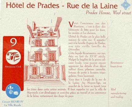 Marvejols - Hôtel de Prades - Panneau d'information