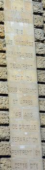 Metz - Porte Serpenoise - Inscription - 1918