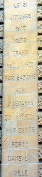 Metz - Porte Serpenoise - Inscription - 1870
