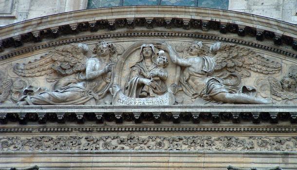 Pont-à-Mousson - Abbaye des Prémontrés - Eglise abbatiale - Fronton représentant la Vierge de Saint-Luc