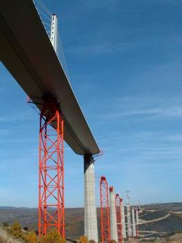 Millau-Viadukt  Überbau erreicht den Pfeiler P6 und wird vom südlichen Widerlager Richtung Norden verschoben