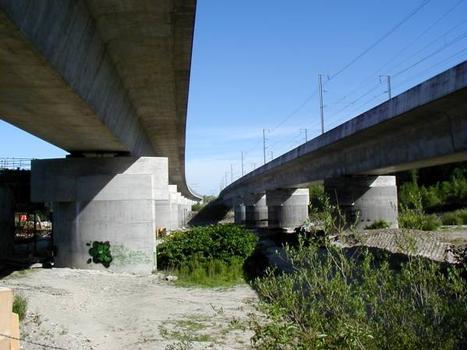 Viaducs de Miribel-Jonage  à gauche le viaduc de l'A432 et à droite le viaduc de la LGV