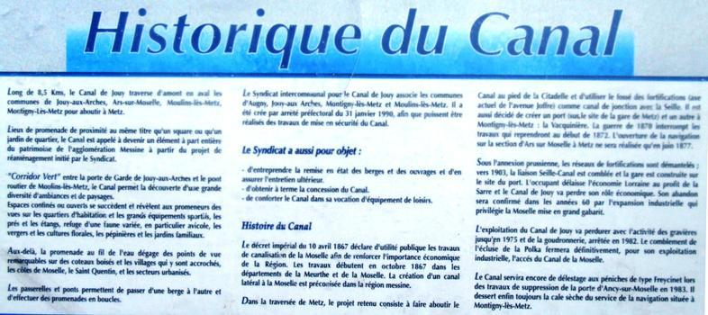 Canal de Jouy à Metz - Historique du canal