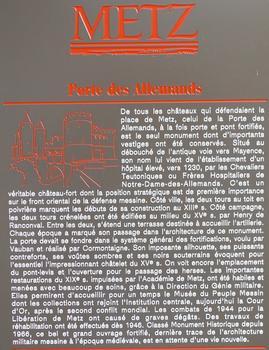 Metz - Remparts médiévaux - Porte des Allemands - Panneau d'information