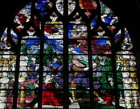 Alençon - Eglise Notre-Dame - Intérieur - Nef - Vitraux du côté gauche racontant l'Ancien Testament: le Sacrifice d'Abraham