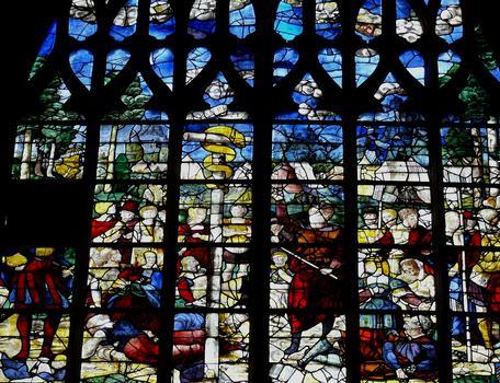 Alençon - Eglise Notre-Dame - Intérieur - Nef - Vitraux du côté gauche racontant l'Ancien Testament: le Sepent d'Airain