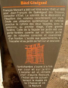 Paris - Hôtel Guénégaud - Musée de la chasse et de la nature - Panneau d'information