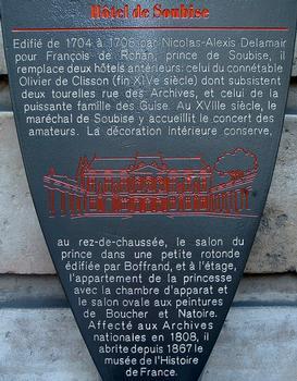 Paris - Hôtel de Soubise - Panneau d'information
