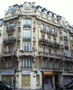 Paris 10 ème arrondissement - Immeuble du 16 rue d'Abbeville construit en 1899 par l'architecte Georges Massa. Sculptures d'Alexandre Chapuy