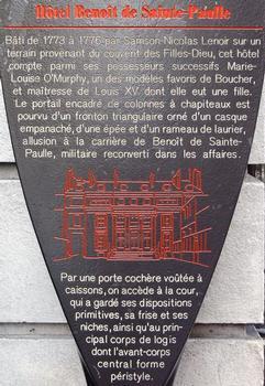 Paris - 10ème arrondissement - Hôtel Benoît de Saint-Paulle - Panneau d'information : Paris - 10 ème arrondissement - Hôtel Benoît de Saint-Paulle - Panneau d'information