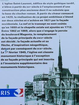 Paris 10ème arrondissement - Eglise Saint-Laurent - Panneau d'information historique : Paris 10 ème arrondissement - Eglise Saint-Laurent - Panneau d'information historique