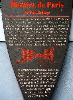 Paris 13 - Armée du Salut - Cité du Refuge - Panneau d'information