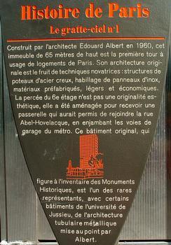 Paris - Tour Albert - Panneau d'information